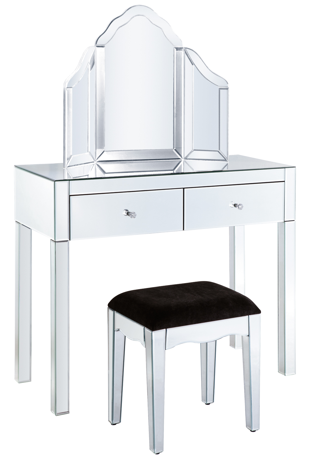 Mirrored Vanity Table And Stool: 2 Draw Dressing Table + Stool + Mirror Package