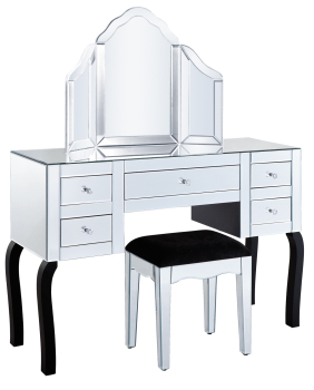 5 Draw Dressing Table + Stool + Mirror Package Flat Edge