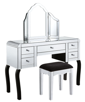 5 Draw Dressing Table + Stool + Mirror Curved Edge Package