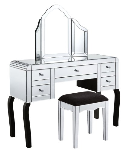 5 Draw Dressing Table + Stool + Mirror Package curved edge