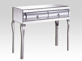 Mirrored Curved 2 Draw Dressing / Console Table