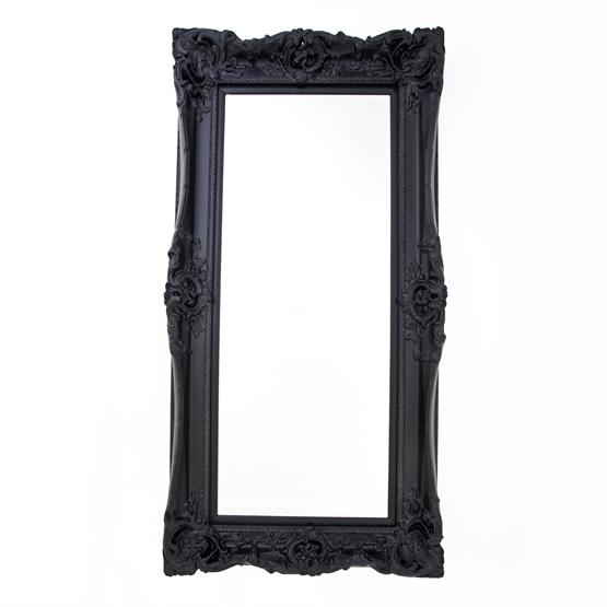 Rococo Core Slim Black Bevelled Mirror