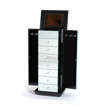 7 Draw Mirrored Wing Cabinet  with Jewelery Hatch