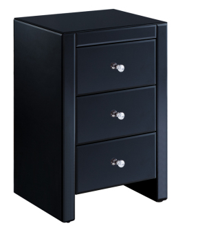 Mirrored Black 3 Draw Bedside Chest