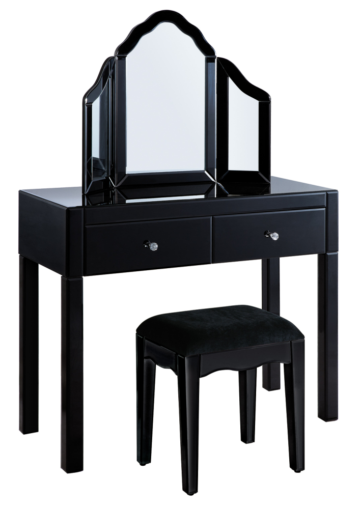 Mirrored Black 2 Draw Dressing Table + Mirror + Stool Package