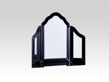 Mirrored Black Tri Fold Mirror