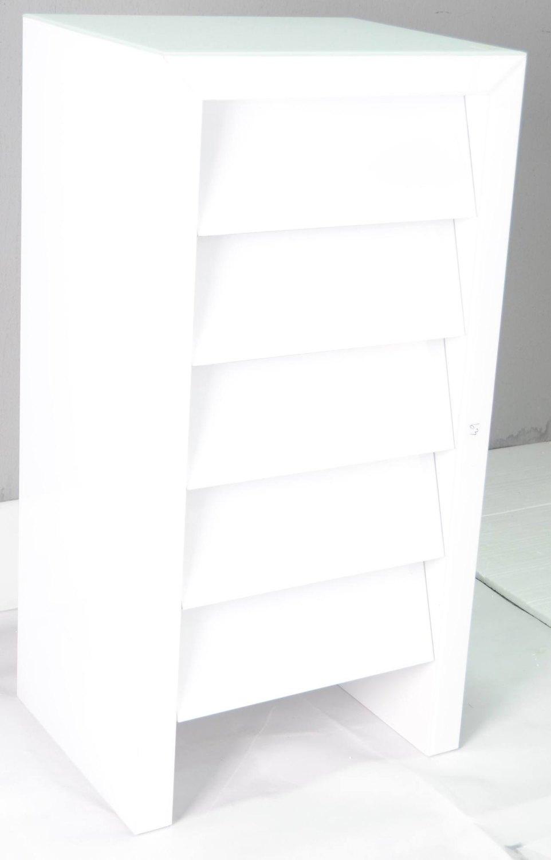 Mirrored White 5 draw Chest