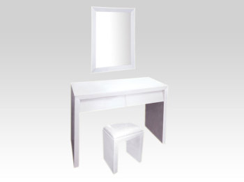 Mirrored White 2 draw Dressing table + Mirror + Stool Package