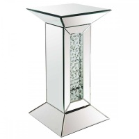 Floating Crystals Mirrored Pedestal Lamp Table 60cm x 31cm