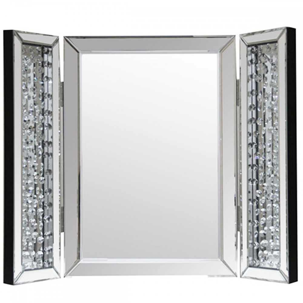 Floating Crystals Tri Fold Mirror 67cm X 54cm