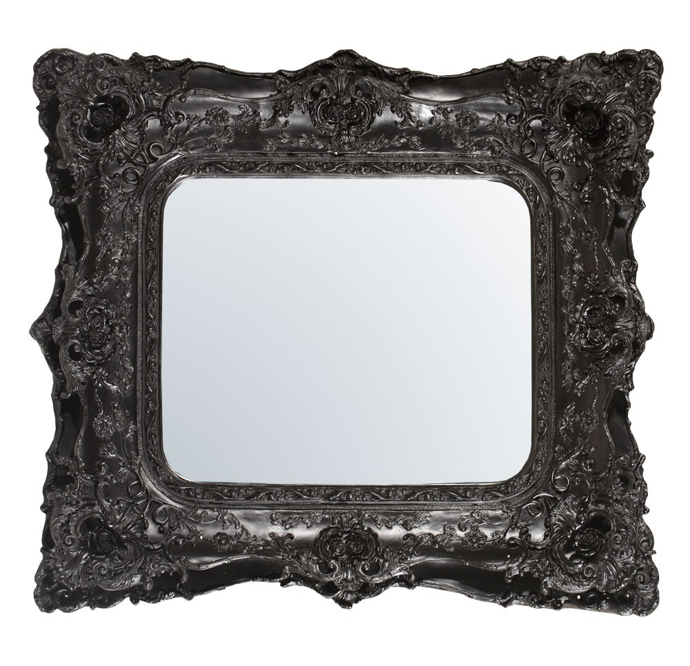 Rococo Ricci Slim Black Shaped Bevelled Mirror