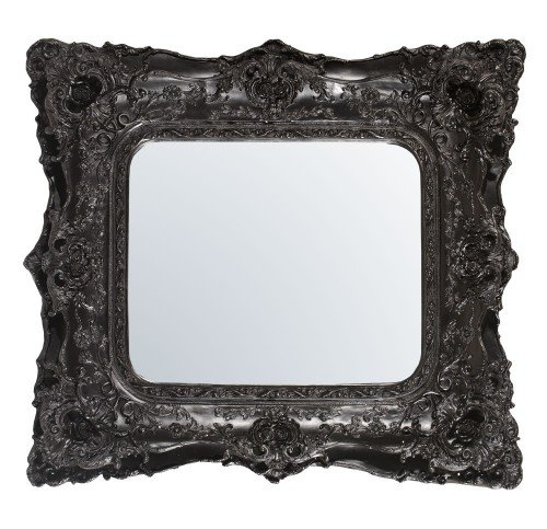 Rococo Ricci Slim Black Shaped Bevelled Mirror