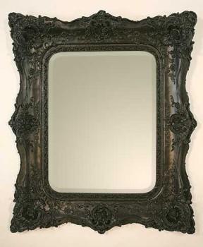 Rococo Ricci Black Shaped Bevelled Mirror 102cm x 120cm