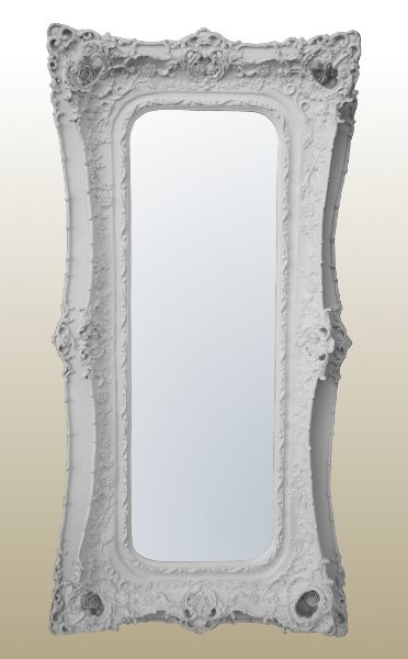 Rococo Ricci Slim White Shaped Bevelled Mirror