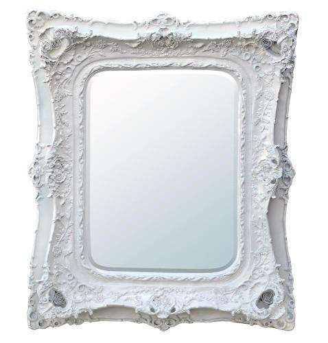 Rococo Ricci Slim White Shaped Bevelled Mirror 104cm x124cm
