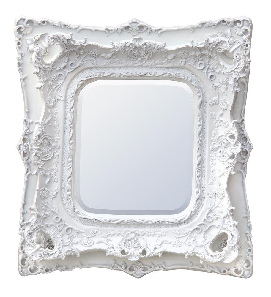 Rococo Ricci White Shaped Bevelled Mirror 90cm x 100cm
