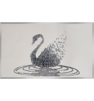 Liquid Glitter Cluster Swan in Silver on a Silver Bevelled Mirror 2 sizes
