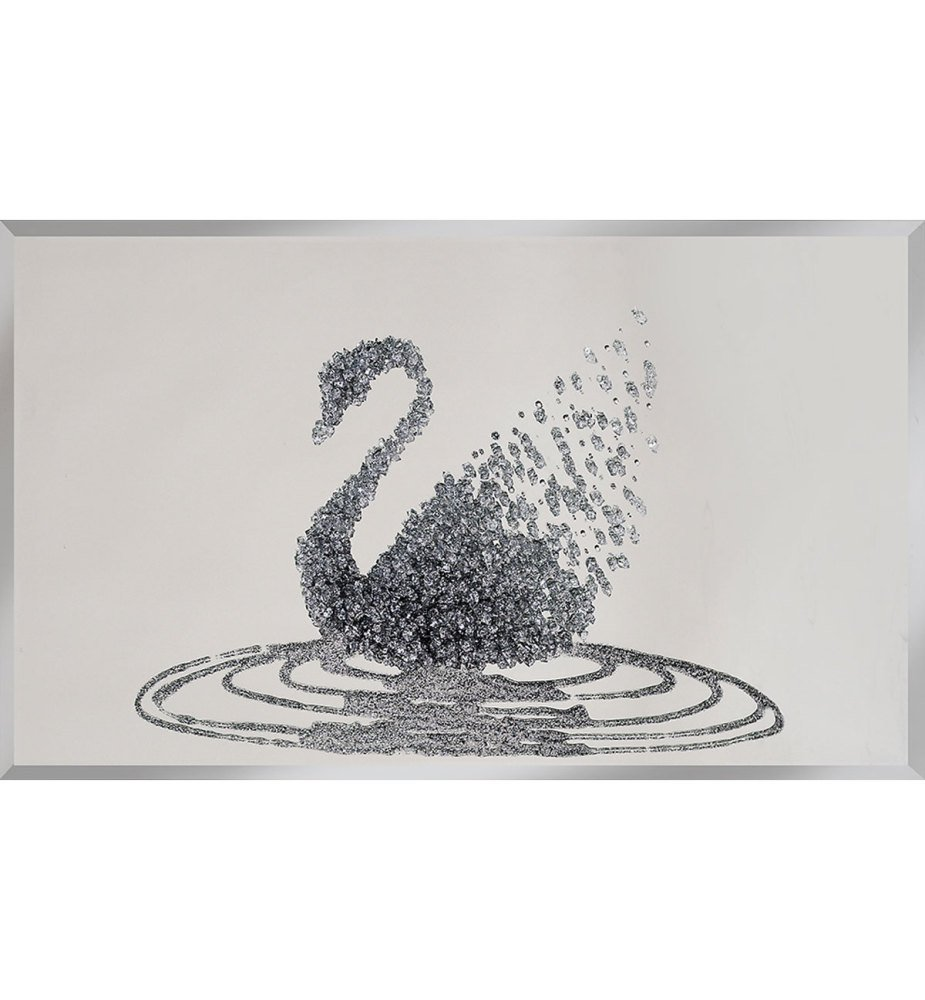 Liquid Glitter Cluster Swan in Silver on a Silver Bevelled Mirror 3 sizes