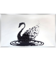 Liquid Glitter Cluster Swan in Black on a Silver Bevelled Mirror 2 sizes