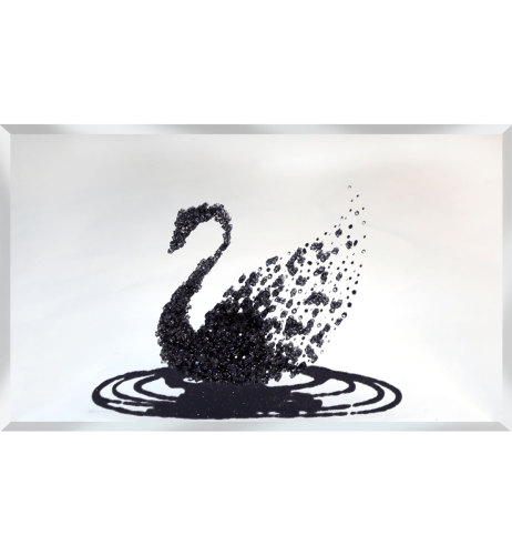 Liquid Glitter Cluster Swan in Black on a Silver Bevelled Mirror 3 sizes