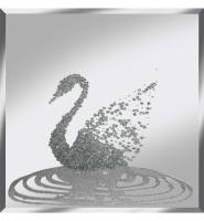 Liquid Glitter Cluster Swan in Silver on a Silver Bevelled Mirror 75cm x 75cm