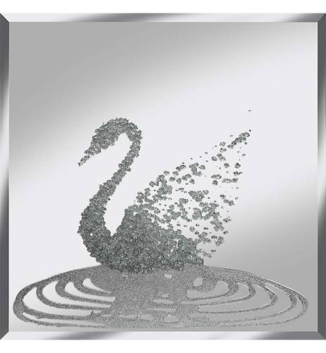 Liquid Glitter Cluster Swan in Silver on a Silver Bevelled Mirror 75cm x 75