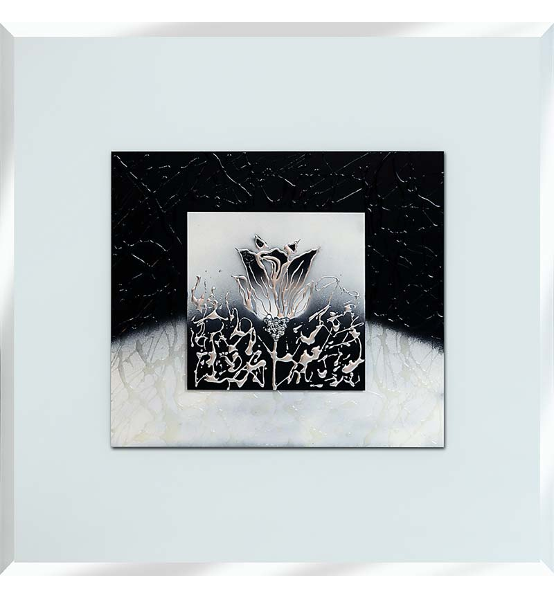 Abstract White Mirrored Wall Art 75cm