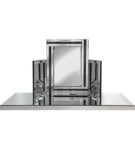 Black & Silver Tri Fold Mirror 78cm x 54cm