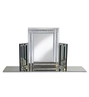 Crystal Border Tri Fold Mirror in Silver 78cm x 54cm