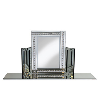 Crystal Border Tri Fold Mirror in Silver 78cm x 54cm