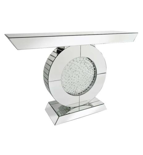Oval  Floating Crystals Console Table in Silver Mirror