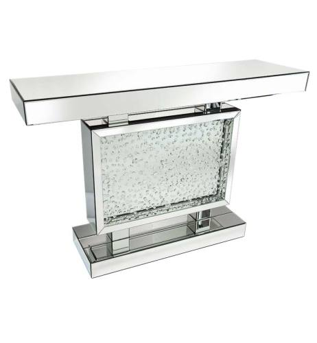 Block Floating Crystals Console Table in Silver Mirror