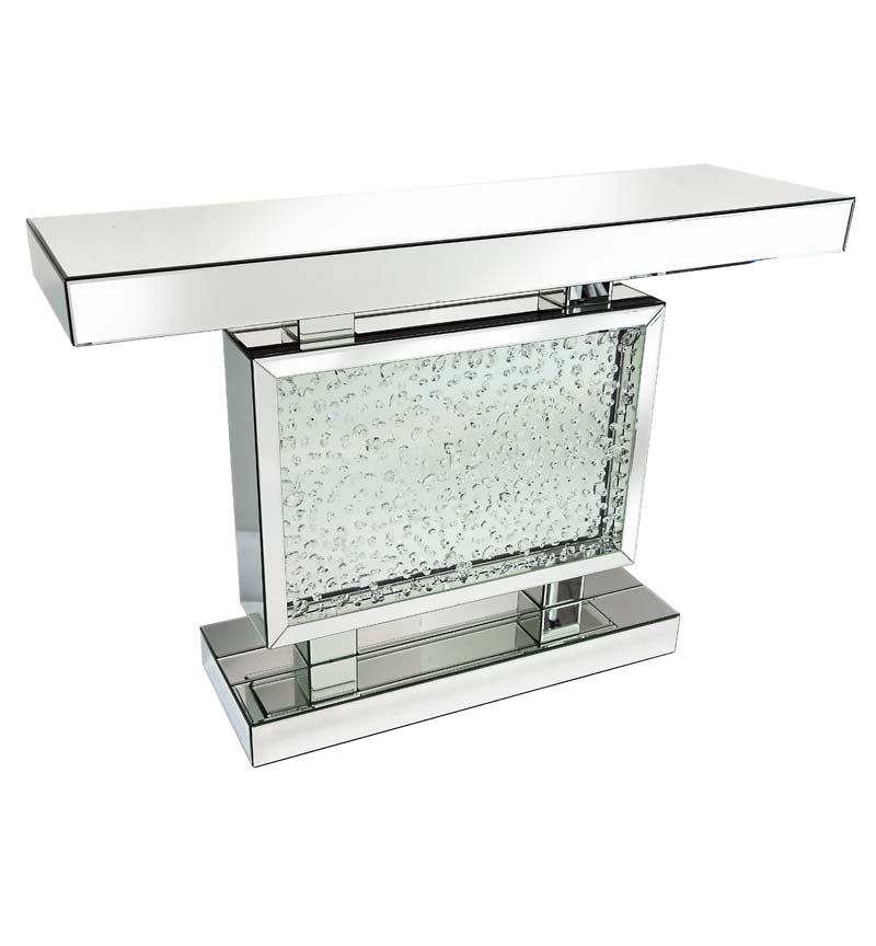Block floating crystals mirrored console table a striking balance between a simple piece of Mirror glass furniture