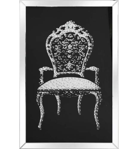 Floating Crystals Louis Chair Wall Art Black Mirrored Frame 120cm x 80cm