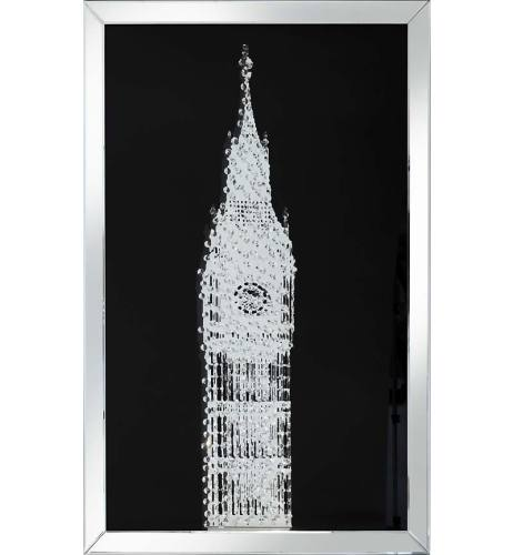 Floating Crystals Big Ben Wall Art Black Mirrored Frame 120cm x 80cm