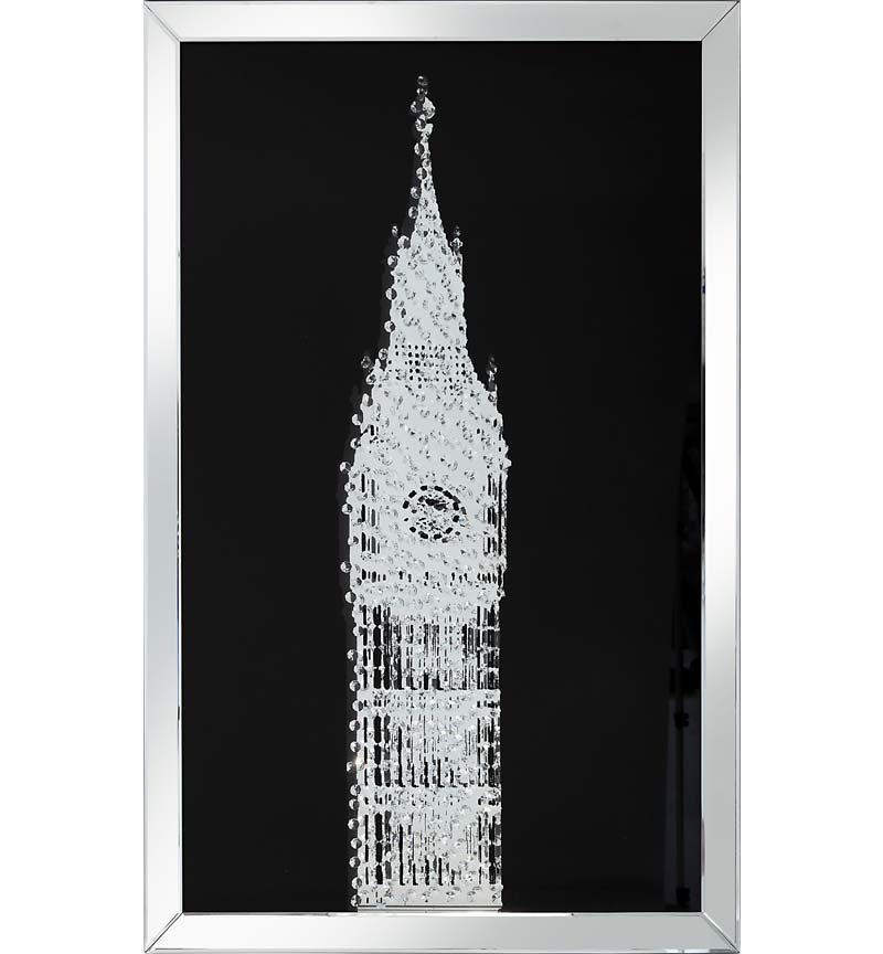 Floating Crystals Big Ben Wall Art Black Mirrored Frame 120cm x 80cm
