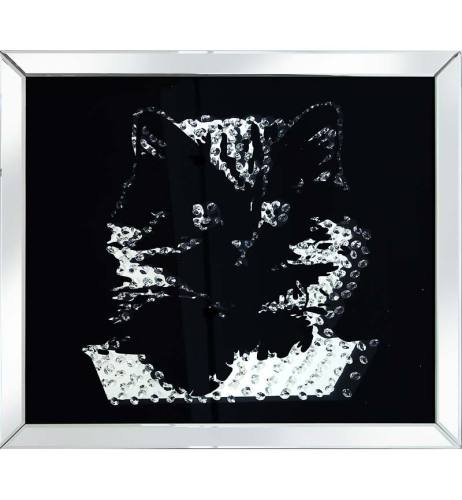 Floating Crystals Cat Wall Art Black Mirrored Frame 80cm x 70cm