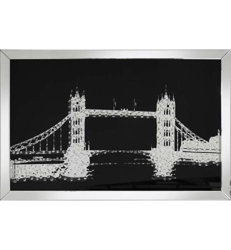 Floating Crystals London Bridge Wall Art Black Mirrored Frame 120cm x 80cm