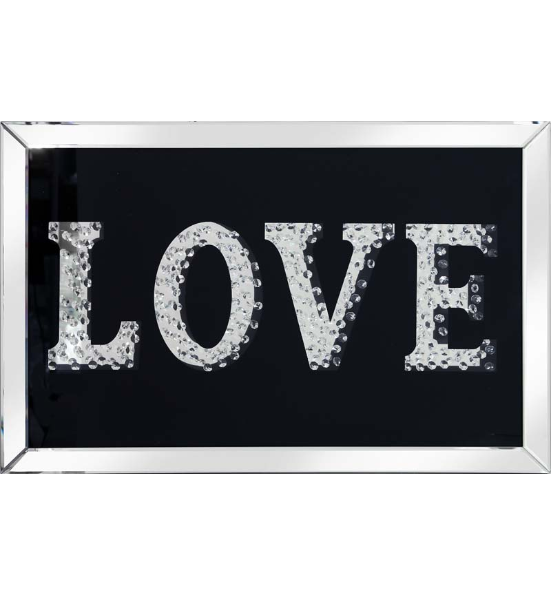 Floating Crystals love Wall Art Black Mirrored Frame 90cm x 60cm