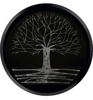 Glitter Tree Silver on a Black Round Bevelled Mirror 70cm dia