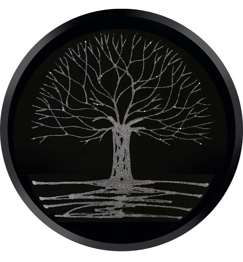 Glitter Tree Silver on a Black Round Bevelled Mirror 70cm