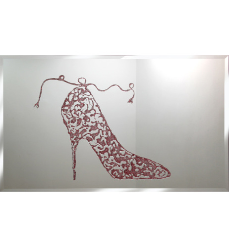 Liquid Glitter Sprkle Shoe in Red on a Silver Bevelled Mirror 2 sizes