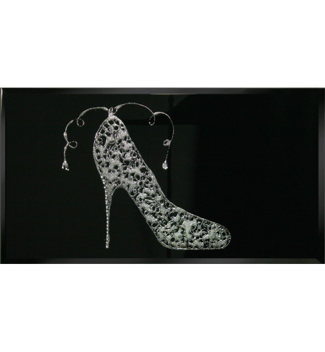Liquid Glitter Sparkle Shoe in Silver on a Black Bevelled Mirror 2 sizes