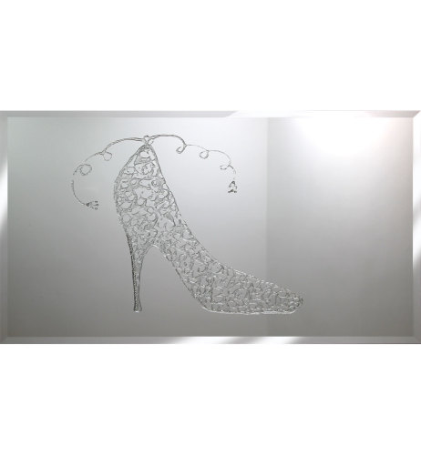 Liquid Glitter Sparkle Shoe in Silver on a Silver Bevelled Mirror 2 sizes