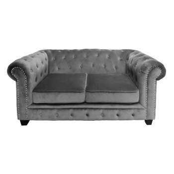 2 seater Chesterfield In Grey Velour