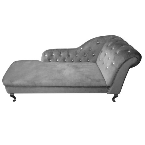 Regent Chaise Lounge In Grey Velour Crystal Studded