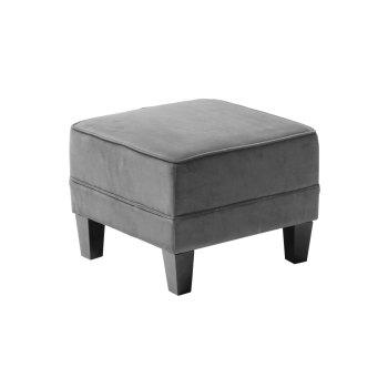 Footstool In Grey Velour