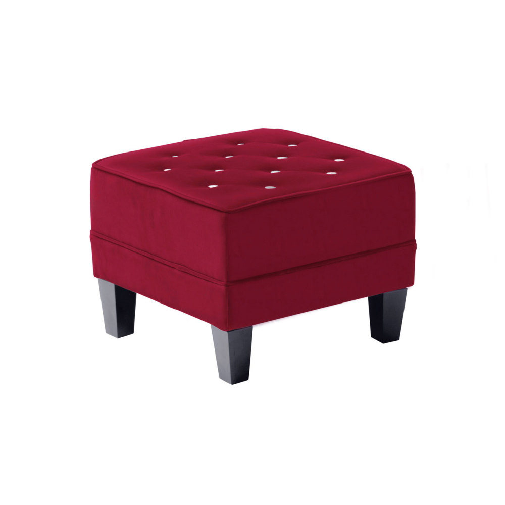 Footstool In Deep Red Velour