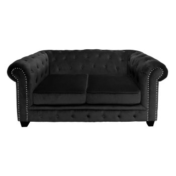 2 seater Chesterfield In Black Velour