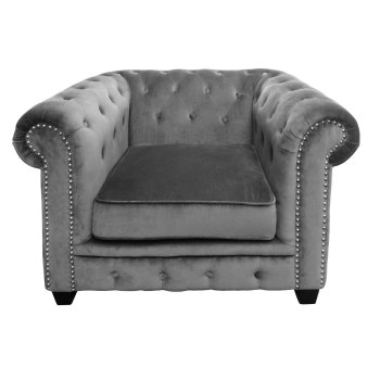 Armchair Chesterfield In Grey Velour